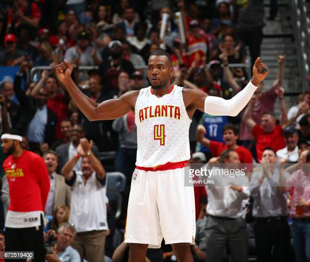 Paul Millsap of the Atlanta Hawks celebrates during Game Four of the Eastern Conference Quarterfinals of the 2017 NBA Playoffs on April 24 2017 at...