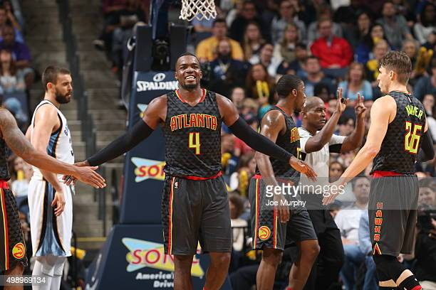 Paul Millsap of the Atlanta Hawks celebrates during the game against the Memphis Grizzlies on November 27 2015 at FedExForum in Memphis Tennessee...