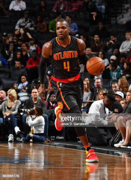 Paul Millsap of the Atlanta Hawks dribbles the ball against the Brooklyn Nets on April 2 2017 at Barclays Center in Brooklyn New York NOTE TO USER...