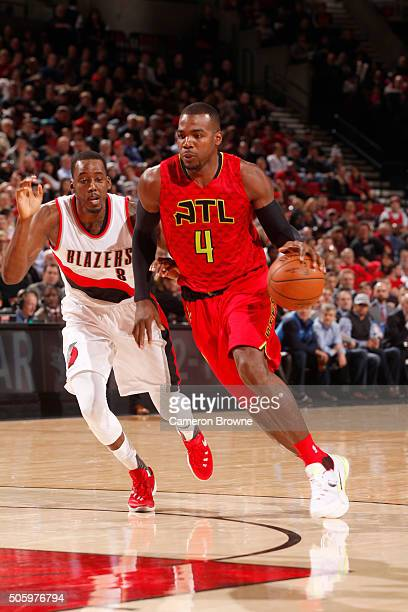 Paul Millsap of the Atlanta Hawks drives to the basket against the Portland Trail Blazers during the game on January 20 2016 at Moda Center in...