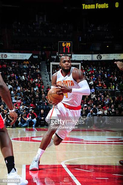 Paul Millsap of the Atlanta Hawks drives to the basket against the Detroit Pistons on December 30 2016 at Philips Arena in Atlanta Georgia NOTE TO...