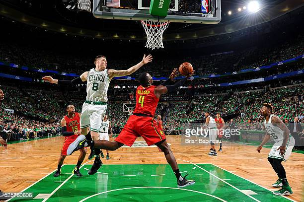 Paul Millsap of the Atlanta Hawks goes for the layup during the game against the Boston Celtics in Game Six of the Eastern Conference Quarterfinals...