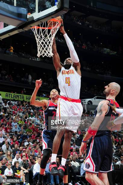 Paul Millsap of the Atlanta Hawks goes to the basket against the Washington Wizards during Game Six of the Eastern Conference Quarterfinals of the...
