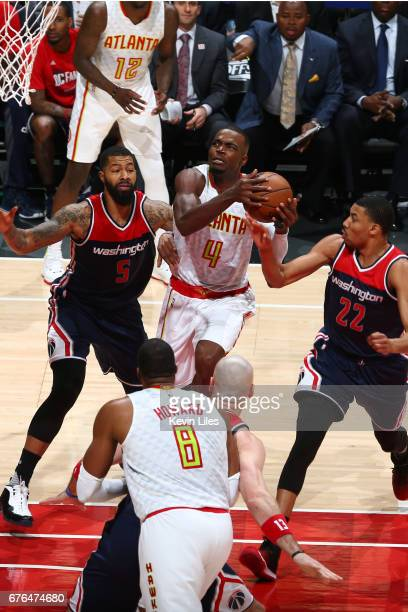 Paul Millsap of the Atlanta Hawks goes to the basket during the game against the Washington Wizards in Game Six of the Eastern Conference...