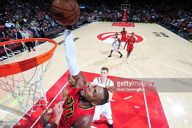 Paul Millsap of the Atlanta Hawks goes up for a dunk during a game against the New York Knicks on January 29 2017 at Philips Arena in Atlanta Georgia...