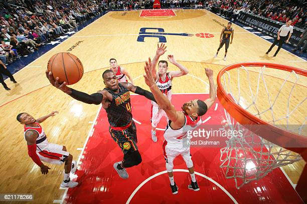 Paul Millsap of the Atlanta Hawks goes up for a lay up during a game against the Washington Wizards on November 4 2016 at the Verizon Center in...