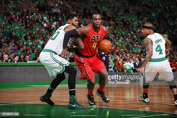 Paul Millsap of the Atlanta Hawks handles the ball against the Boston Celtics in Game Four of the Eastern Conference Quarterfinals during the 2016...