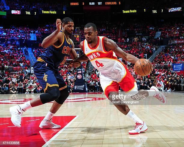 Paul Millsap of the Atlanta Hawks handles the ball against the Cleveland Cavaliers in Game Two of the Eastern Conference Finals of the NBA Playoffs...