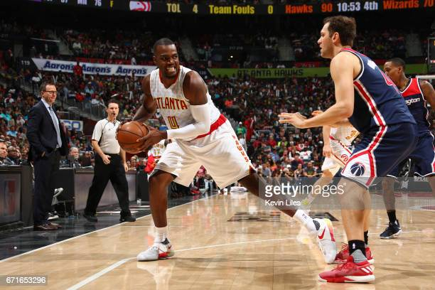 Paul Millsap of the Atlanta Hawks handles the ball against the Washington Wizards in Game Three of the Eastern Conference Quarterfinals during the...