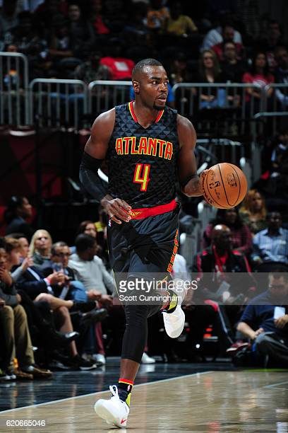 Paul Millsap of the Atlanta Hawks handles the ball against the Los Angeles Lakers on November 2 2016 at Philips Arena in Atlanta Georgia NOTE TO USER...