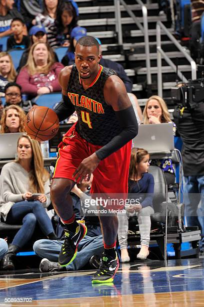 Paul Millsap of the Atlanta Hawks handles the ball against the Orlando Magic on February 7 2016 at the Amway Center in Orlando Florida NOTE TO USER...