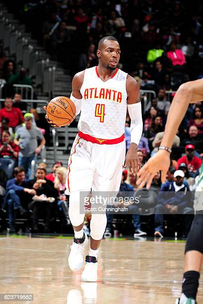 Paul Millsap of the Atlanta Hawks handles the ball during the game against the Milwaukee Bucks on November 16 2016 at Philips Arena in Atlanta...