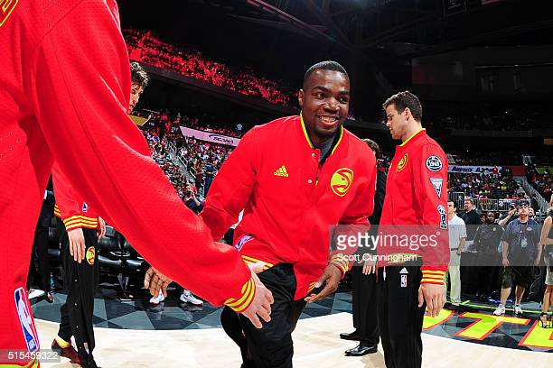 Paul Millsap of the Atlanta Hawks is introduced before the game against the Indiana Pacers on March 13 2016 at Philips Arena in Atlanta Georgia NOTE...