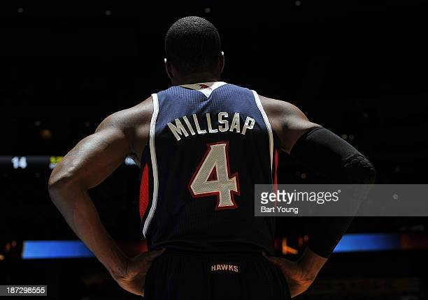 Paul Millsap of the Atlanta Hawks looks on against the Denver Nuggets on November 7 2013 at the Pepsi Center in Denver Colorado NOTE TO USER User...