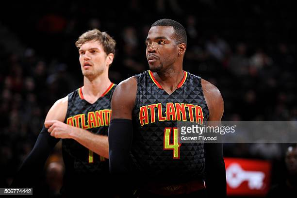 Paul Millsap of the Atlanta Hawks looks on during the game against the Denver Nuggets on January 25 2016 at the Pepsi Center in Denver Colorado NOTE...
