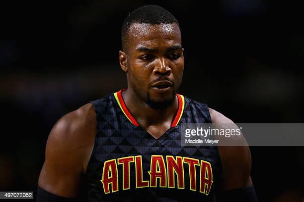 Paul Millsap of the Atlanta Hawks looks on during the second half against the Boston Celtics at TD Garden on November 13 2015 in Boston Massachusetts...
