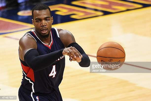 Paul Millsap of the Atlanta Hawks passes against the Cleveland Cavaliers in the third quarter during Game Three of the Eastern Conference Finals of...