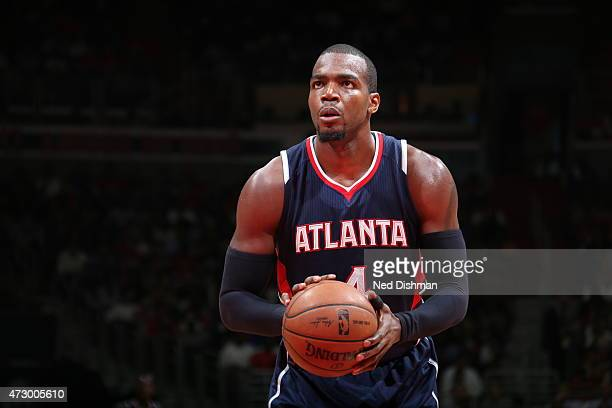 Paul Millsap of the Atlanta Hawks prepares to shoot a free throw against the Washington Wizards in Game Four of the Eastern Conference Semifinals...