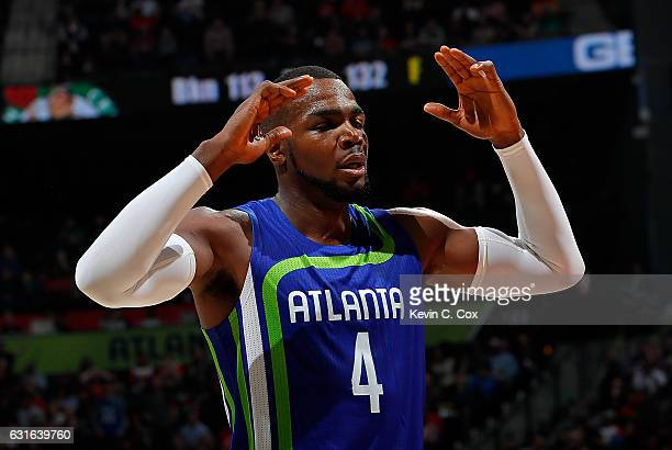 Paul Millsap of the Atlanta Hawks reacts a foul was called charged to a teammate during the game against the Boston Celtics at Philips Arena on...