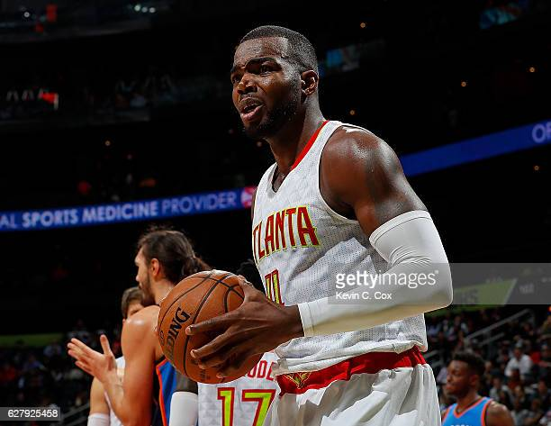 Paul Millsap of the Atlanta Hawks reacts to the referees during the game against the Oklahoma City Thunder at Philips Arena on December 5 2016 in...
