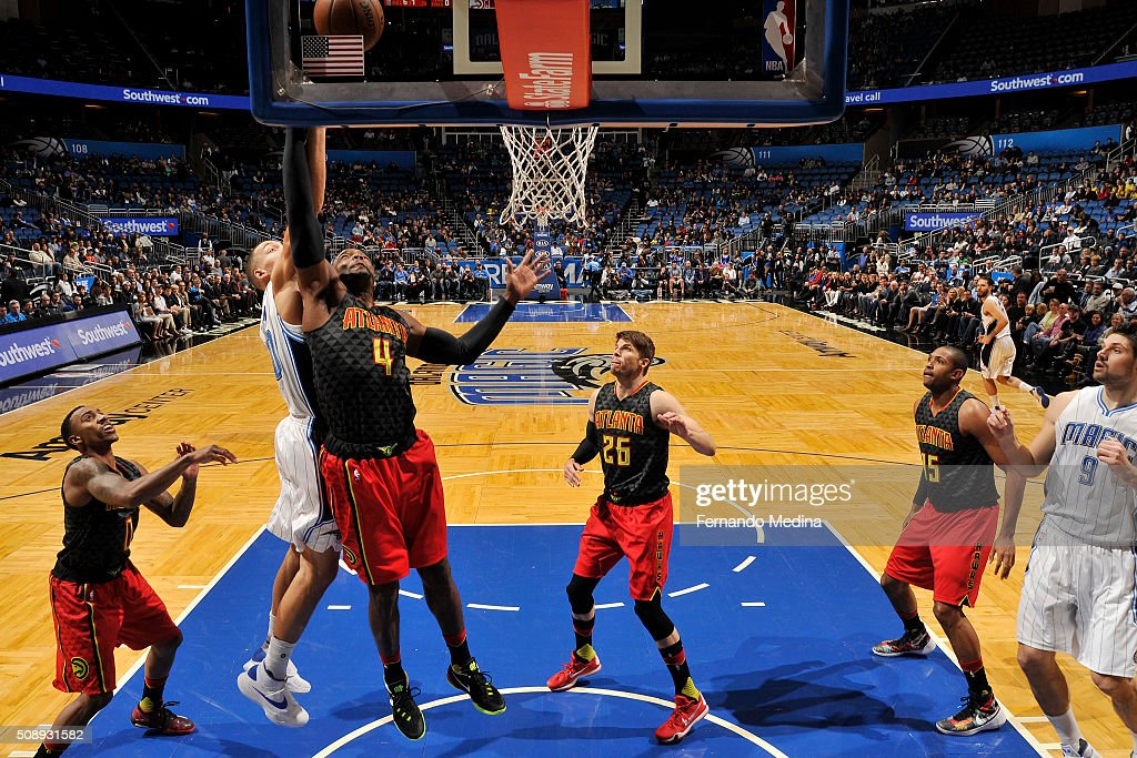 <a gi-track='captionPersonalityLinkClicked' href=/galleries/search?phrase=Paul+Millsap&family=editorial&specificpeople=880017 ng-click='$event.stopPropagation()'>Paul Millsap</a> #4 of the Atlanta Hawks shoots the ball against the Orlando Magic on February 7, 2016 at the Amway Center in Orlando, Florida.