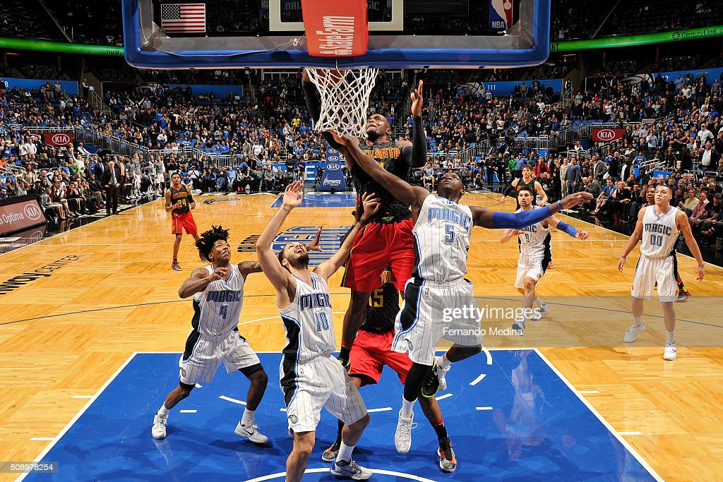 <a gi-track='captionPersonalityLinkClicked' href=/galleries/search?phrase=Paul+Millsap&family=editorial&specificpeople=880017 ng-click='$event.stopPropagation()'>Paul Millsap</a> #4 of the Atlanta Hawks shoots the ball Orlando Magic on February 7, 2016 at the Amway Center in Orlando, Florida.