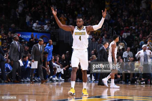 Paul Millsap of the Denver Nuggets celebrates a win against the Oklahoma City Thunder on November 9 2017 at the Pepsi Center in Denver Colorado NOTE...