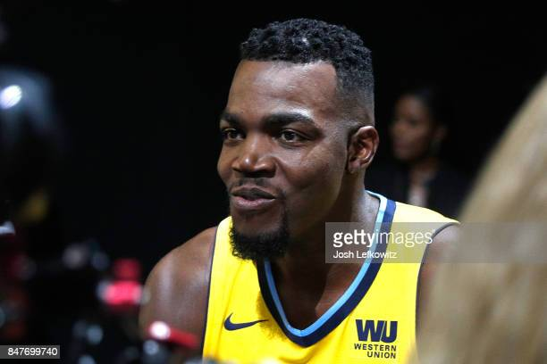 Paul Millsap of the Denver Nuggets debuts the new jersey during the unveiling of the New NBA Partnership with Nike on September 15 2017 in Los...