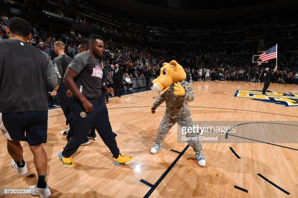 Paul Millsap of the Denver Nuggets gets introduced by the mascot before the game against the Orlando Magic on November 11 2017 at the Pepsi Center in...