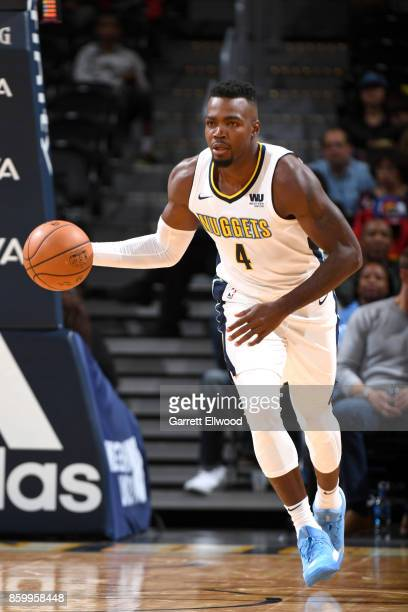 Paul Millsap of the Denver Nuggets handles the ball against the Oklahoma City Thunder on October 10 2017 at the Pepsi Center in Denver Colorado NOTE...