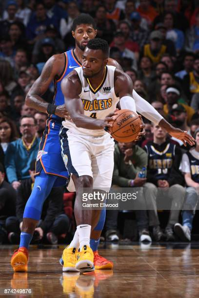 Paul Millsap of the Denver Nuggets handles the ball against the Oklahoma City Thunder on November 9 2017 at the Pepsi Center in Denver Colorado NOTE...