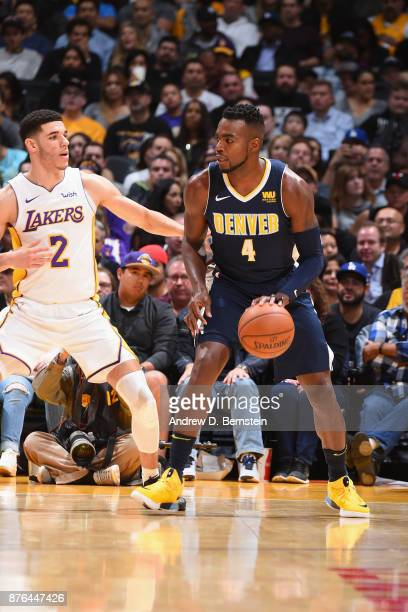 Paul Millsap of the Denver Nuggets handles the ball against the Los Angeles Lakers on November 19 2017 at STAPLES Center in Los Angeles California...