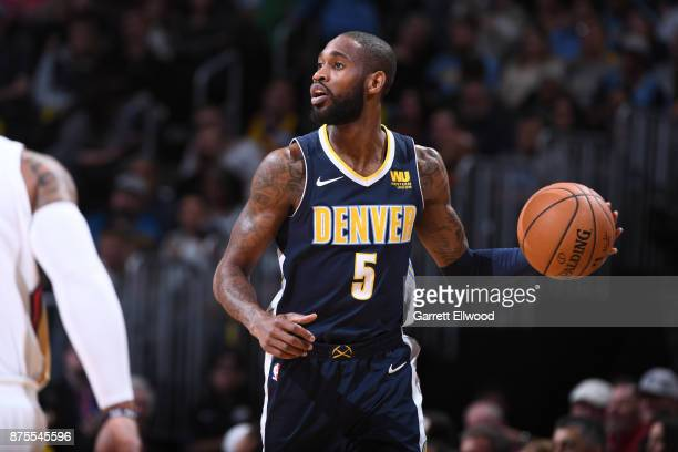Paul Millsap of the Denver Nuggets handles the ball against the New Orleans Pelicans on November 17 2017 at the Pepsi Center in Denver Colorado NOTE...