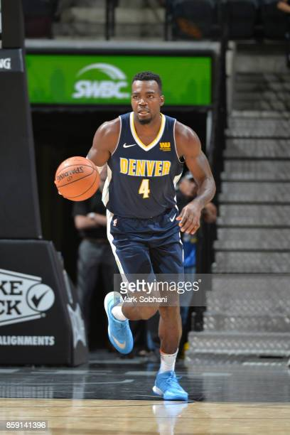 Paul Millsap of the Denver Nuggets handles the ball against the San Antonio Spurs during the preseason game on October 8 2017 at the ATT Center in...