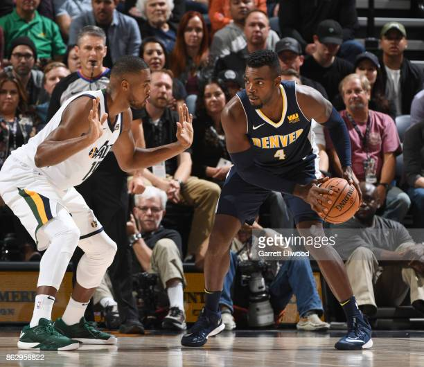 Paul Millsap of the Denver Nuggets handles the ball against the Utah Jazz during the game on October 18 2017 at vivintSmartHome Arena in Salt Lake...