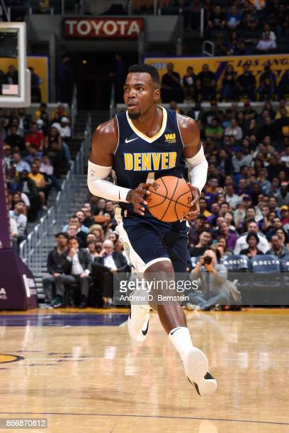 Paul Millsap of the Denver Nuggets handles the ball during the game against the Los Angeles Lakers during a preseason game on October 2 2017 at...