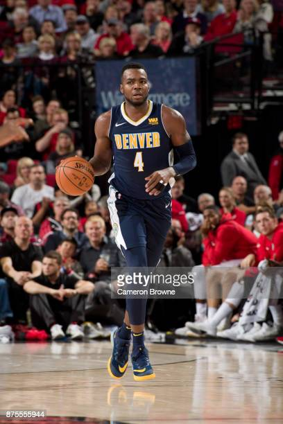 Paul Millsap of the Denver Nuggets handles the ball during the game against the Portland Trail Blazers on November 13 2017 at the Moda Center Arena...