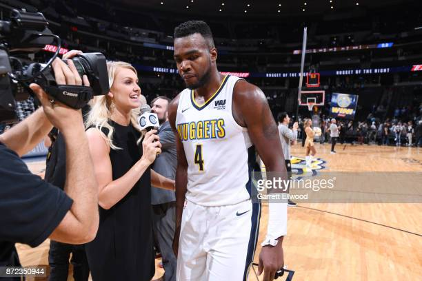 Paul Millsap of the Denver Nuggets is interviewed after defeating the Oklahoma City Thunder on November 9 2017 at the Pepsi Center in Denver Colorado...