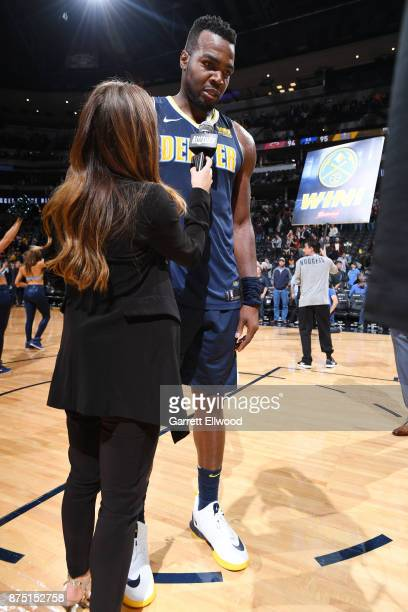 Paul Millsap of the Denver Nuggets is interviewed after defeating the Miami Heat on November 3 2017 at the Pepsi Center in Denver Colorado NOTE TO...