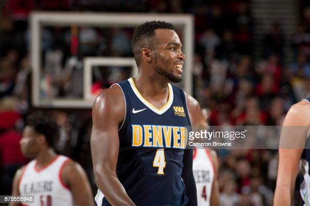Paul Millsap of the Denver Nuggets looks on during the game against the Portland Trail Blazers on November 13 2017 at the Moda Center Arena in...