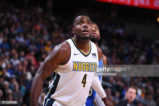 Paul Millsap of the Denver Nuggets plays defense against the Oklahoma City Thunder on November 9 2017 at the Pepsi Center in Denver Colorado NOTE TO...