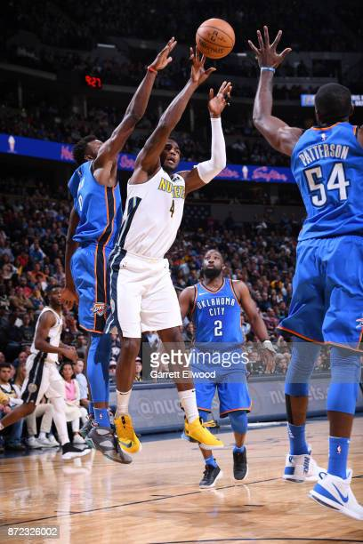 Paul Millsap of the Denver Nuggets shoots the ball against the Oklahoma City Thunder on November 9 2017 at the Pepsi Center in Denver Colorado NOTE...
