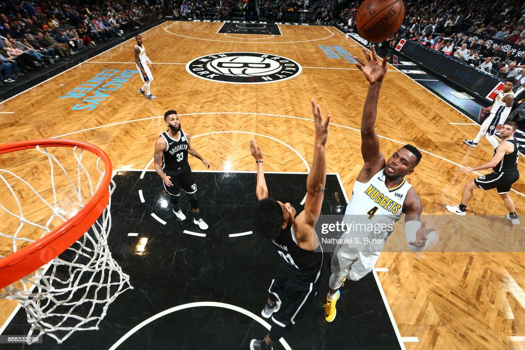 Paul Millsap #4 of the Denver Nuggets shoots the ball against the Brooklyn Nets on October 29, 2017 at Barclays Center in Brooklyn, New York.