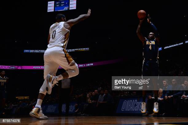 Paul Millsap of the Denver Nuggets shoots the ball against the New Orleans Pelicans on November 17 2017 at the Pepsi Center in Denver Colorado NOTE...