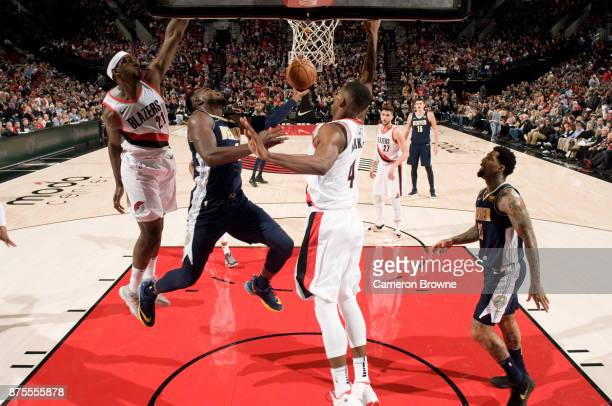 Paul Millsap of the Denver Nuggets shoots the ball during the game Portland Trail Blazers on November 13 2017 at the Moda Center Arena in Portland...