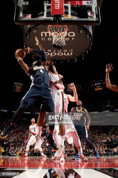 Paul Millsap of the Denver Nuggets shoots the ball during the game against the Portland Trail Blazers on November 13 2017 at the Moda Center Arena in...