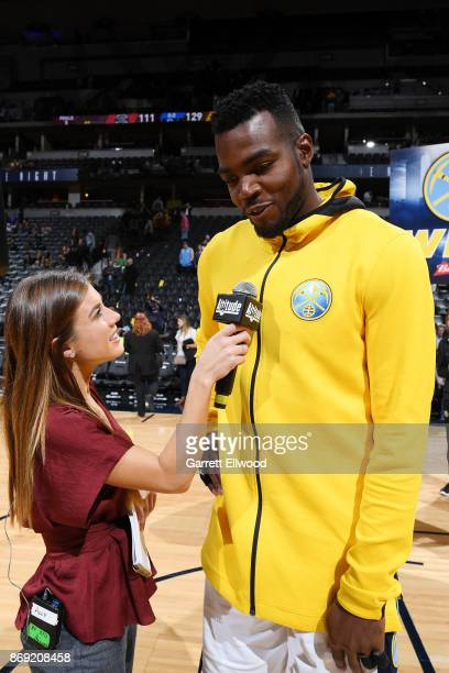 Paul Millsap of the Denver Nuggets talks to the media after the game against the Toronto Raptors on November 1 2017 at the Pepsi Center in Denver...