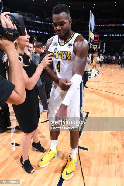Paul Millsap of the Denver Nuggets talks with media after the game against the Oklahoma City Thunder on November 9 2017 at the Pepsi Center in Denver...