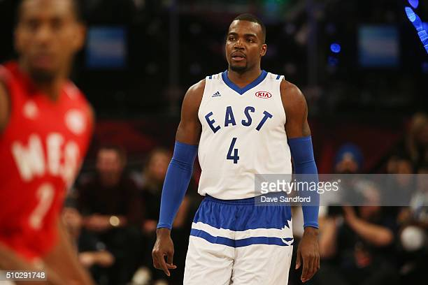 Paul Millsap of the Eastern Conference is seen during the 2016 NBA AllStar Game on February 14 2016 at the Air Canada Centre in Toronto Ontario...