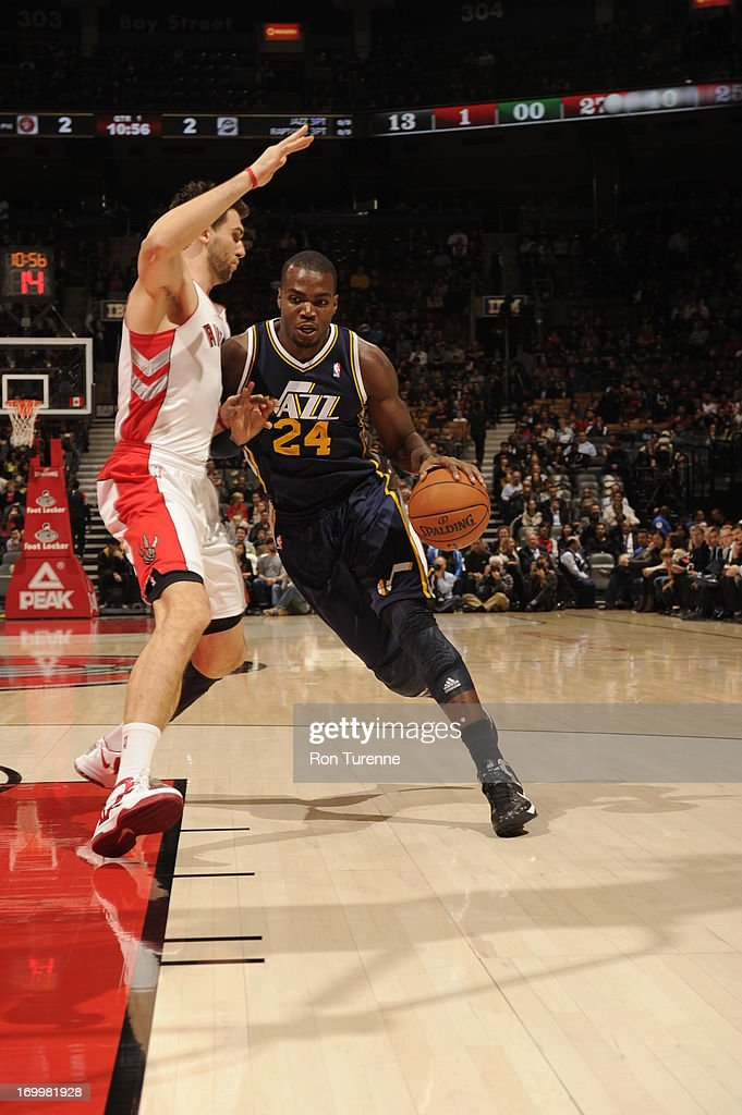 <a gi-track='captionPersonalityLinkClicked' href=/galleries/search?phrase=Paul+Millsap&family=editorial&specificpeople=880017 ng-click='$event.stopPropagation()'>Paul Millsap</a> #24 of the Utah Jazz drives baseline against the Toronto Raptors during the game on November 12, 2012 at the Air Canada Centre in Toronto, Ontario, Canada.